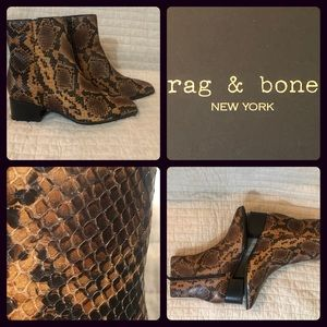 Rag & Bone Aslen Leather Boot Faux Snakeskin NIB